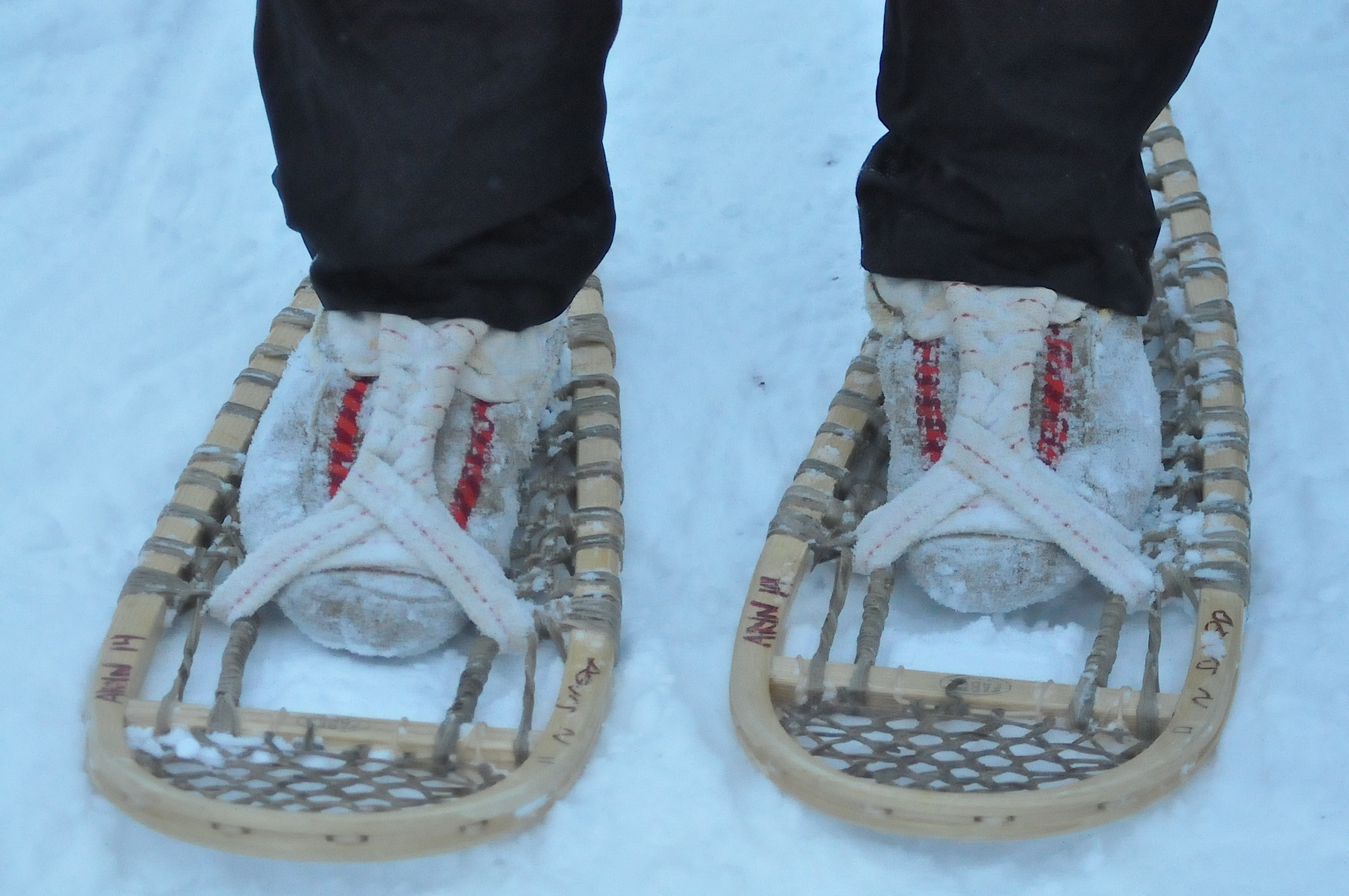 a up look traditional snowshoes in inuvik